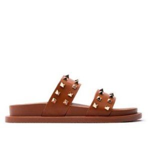 !! NEW !! Studded Double Strap Slides in Cognac